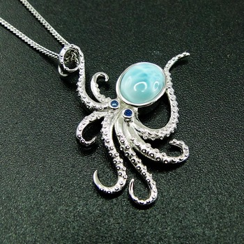 Nueva Llegada Real de la Plata Esterlina 925 Natural de Larimar, Pulpo Colgante Woment del Colgante de Collar